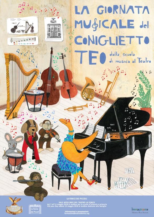 La giornata musicale del coniglietto Teo_ locandina per Fondazione Teatro La Fenice di Venezia_area formazione_2018